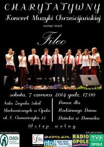 Koncert charytatywny Fileo w Domecku - plakat